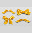 gold ribbons and bows for wrapping present box set vector image vector image