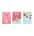 happy new year posters cute pig symbol 2019 year vector image vector image