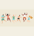 happy young people jump on beach vector image