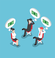 Isometric businesspeople dreaming about money vector image vector image