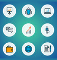 job icons colored line set with financial data vector image vector image
