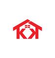 letters kk house windows design logo vector image vector image