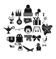 little people icons set simple style vector image
