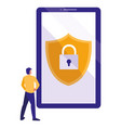 man using smartphone with shield and padlock vector image