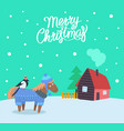 merry christmas greeting poster with animal vector image