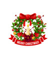 Merry christmas greeting wreath icon