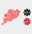 mosaic odisha state map cog items and grunge vector image vector image