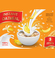 oatmeal muesli with banana and milk splash vector image vector image