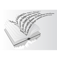 opened book with flying text vector image vector image