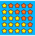 Orange game rating stars icons buttons interface vector image
