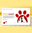 paper cut pets shop landing page website vector image
