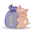 pig with a bag of money symbol of the new year vector image