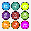 Pound Sterling icon sign Nine multi colored round vector image vector image