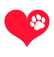 red heart silhouette with a white paw print on it vector image