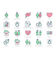 relationship status line icons vector image