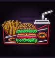 retro neon burger cola and french fries sign on vector image