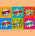 sale set sale ninty percent 90 off tags on a vector image vector image