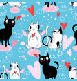 seamless festive pattern with cats in love vector image vector image