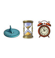 set of different old clocks sundial hourglass vector image