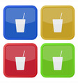 set of four square icons with drink with straw vector image vector image
