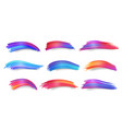 set of isolated colorful gradient brush strokes vector image vector image