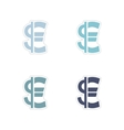 Set of paper stickers on white background Euro vector image vector image