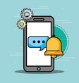 smartphone speech bubble bell customer service vector image