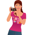 Tourist taking pictures vector image