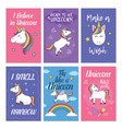 unicorn greeting card set vector image vector image