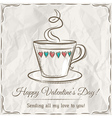 valentine card with cup of hot drink and wishes te vector image