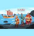 viking longship flat vector image