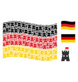 waving german flag collage of fortress tower items vector image