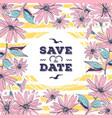 wedding card save date lettering floral frame vector image vector image