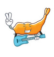with guitar tempura mascot cartoon style vector image vector image