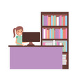 woman with computer and bookshelf vector image vector image