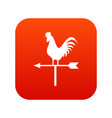 weather vane with cock icon digital red vector image