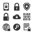 digital encrypt technology security icons set vector image