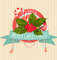 A Christmas banner with holly berries bullfinch vector image vector image