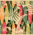abstract seamless pattern with tropical leaves vector image vector image