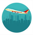 airplane above cityscape vector image