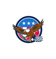 american eagle clutching towing j hook usa flag vector image vector image