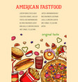 american fast food meal and drink sketch poster vector image vector image