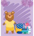back to school bear books backpack and apple vector image vector image