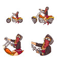 biker sexy girl pop art avatar icons vector image vector image