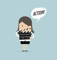 businesswoman holding movie slate and say action vector image vector image