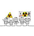 cartoon people against nuclear power vector image