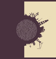 circle with cargo port and travel silhouettes vector image vector image
