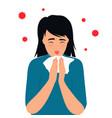 covid19-19 coronavirus symptoms the kid sneezes vector image vector image
