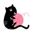 Cute little black kitten with ball vector image vector image