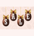 easter egg sale 3d icons set gold ribbon bow vector image vector image